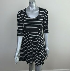 WHBM Dress Striped 3/4 Sleeve Black White Sz: 2